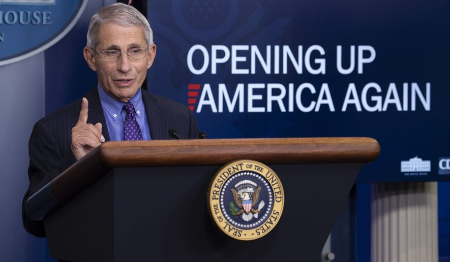 Dr. Anthony Fauci, director of the National Institute of Allergy and Infectious Diseases, speaks about the coronavirus in the James Brady Press Briefing Room of the White House, Thursday, April 16, 2020, in Washington. (AP Photo/Alex Brandon) ** FILE **