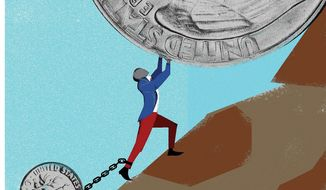 Illustration on dealing with U.S. debt by Linas Garsys/The Washington Times