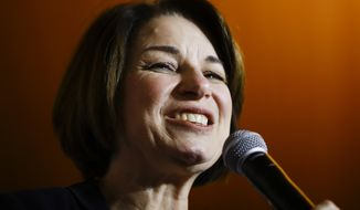 In this Feb. 26, 2020 file photo, Democratic presidential candidate Sen. Amy Klobuchar, D-Minn., speaks during a campaign event in Charleston, S.C. As presumptive Democratic presidential nominee Joe Biden begins the process of choosing a running mate amid the coronavirus crisis, managing the pandemic has become its own version of an audition. For potential picks, lobbying for the job means breaking into the national conversation, positioning themselves as leaders and executing at their day job. (AP Photo/Matt Rourke)