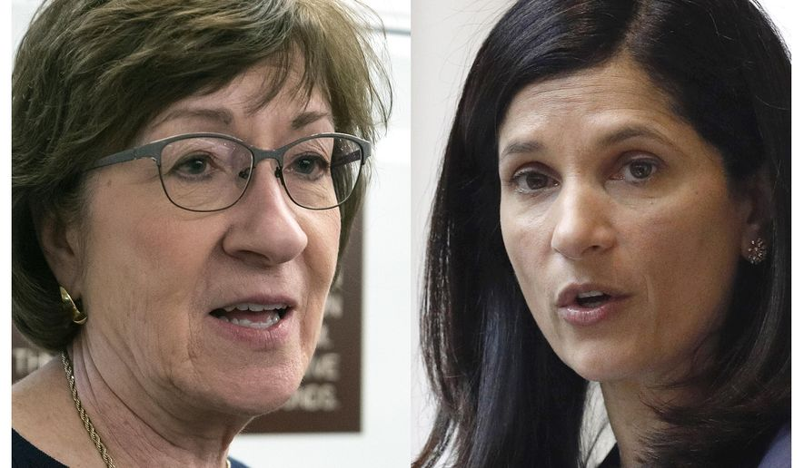 This pair of file photos shows incumbent U.S. Sen. Susan Collins, R-Maine, in 2019, left, and Maine House Speaker and Senate contender Sara Gideon, D-Freeport, right. Gideon raised more than double what Collins raised during the first quarter of 2020, according to financial disclosure reports. (AP Photos, File)