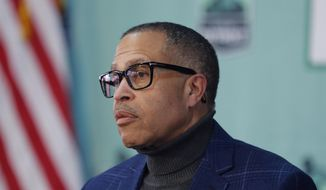 Detroit Police Chief James Craig is shown in this file photo from a Thursday, April 16, 2020, press briefing in Detroit. (AP Photo/Carlos Osorio)  **FILE**
