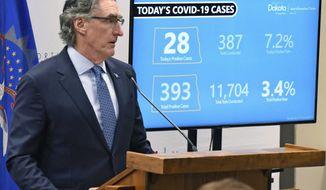 North Dakota Gov. Doug Burgum speaks during his coronavirus briefing, Thursday, April 16, 2020 in Bismarck, N.D. (Tom Stromme/The Bismarck Tribune via AP)