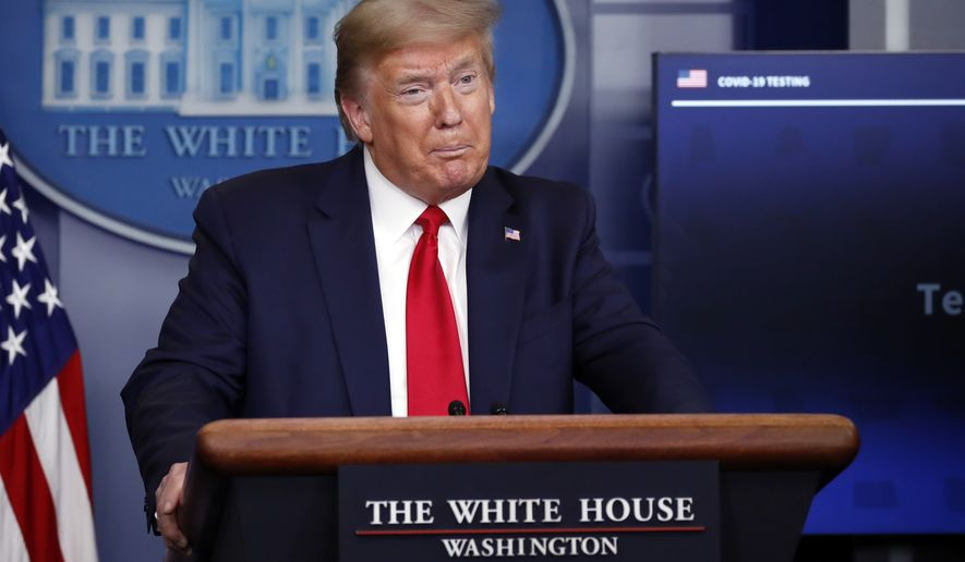 President Donald Trump speaks about the coronavirus in the James Brady Press Briefing Room of the White House, Friday, April 17, 2020, in Washington. (AP Photo/Alex Brandon)