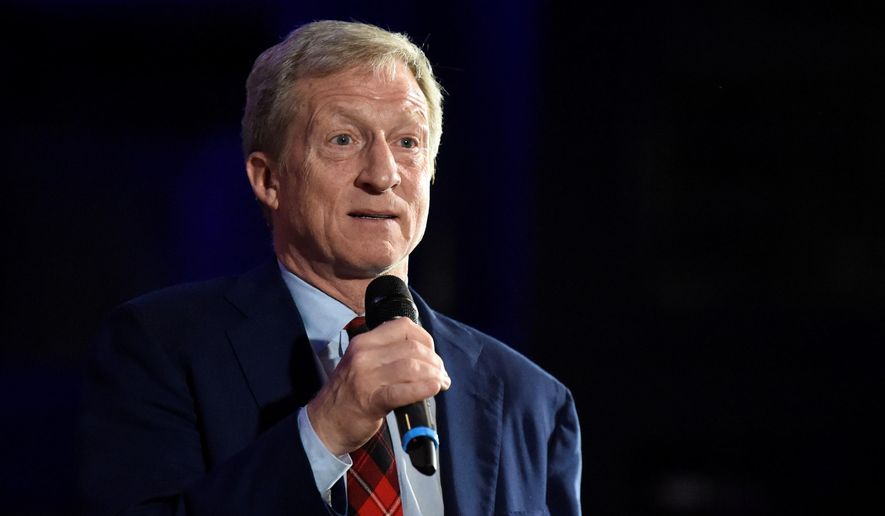 In this Feb. 29, 2020, photo Democratic presidential candidate, billionaire Tom Steyer announces the end of his presidential campaign following the results of the South Carolina primary in Columbia, S.C. (AP Photo/Meg Kinnard) **FILE**