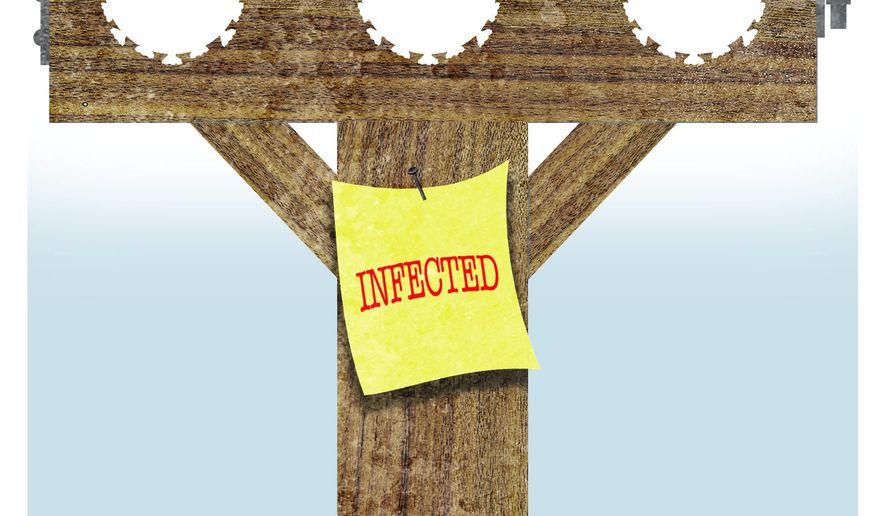 Illustration on COVID-19 virus shaming by Alexander Hunter/The Washington Times