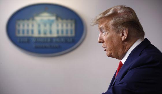 President Donald Trump speaks during a coronavirus task force briefing at the White House, Saturday, April 18, 2020, in Washington. (AP Photo/Patrick Semansky)