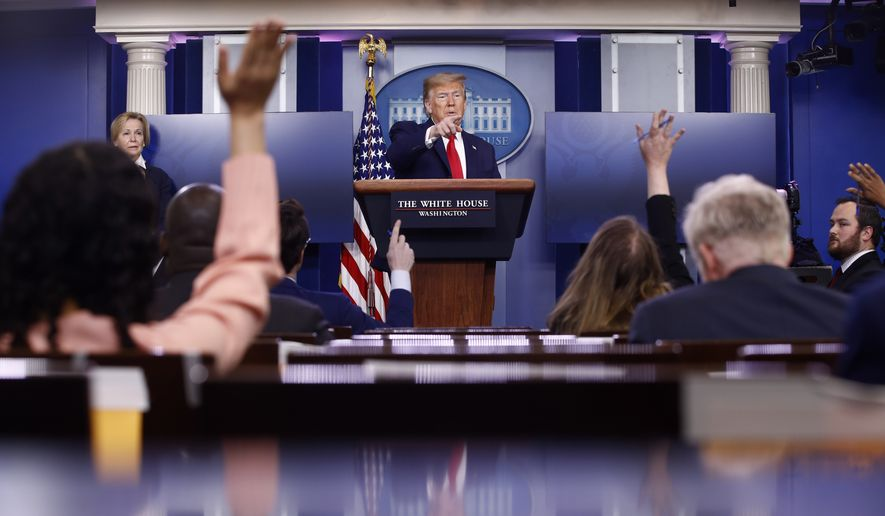 President Donald Trump speaks during a coronavirus task force briefing at the White House, Saturday, April 18, 2020, in Washington. (AP Photo/Patrick Semansky)