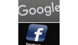 FILE - This combination of file photos shows a Google sign and the Facebook app. Global digital platforms Google and Facebook will be forced to pay for news content in Australia, the government said on Monday, April 20, 2020 as the coronavirus pandemic causes a collapse in advertising revenue. (AP Photo/File)