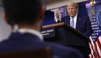 President Donald Trump speaks during a coronavirus task force briefing at the White House, Sunday, April 19, 2020, in Washington. (AP Photo/Patrick Semansky)