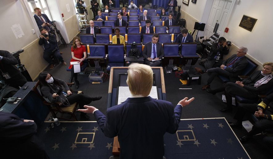 In this April 10, 2020, file photo, President Donald Trump speaks during a coronavirus task force briefing at the White House in Washington. (AP Photo/Evan Vucci, File)