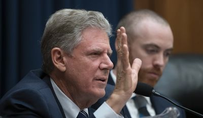 House Energy and Commerce Chairman Frank Pallone, D-N.J., expresses frustration with Centers for Medicare and Medicaid Services Administrator Seema Verma as she testifies before the Subcommittee on Oversight and Investigations about the affect of the Trump Administration's policies on health care, on Capitol Hill in Washington, Wednesday, Oct. 23, 2019. (AP Photo/J. Scott Applewhite) **FILE**