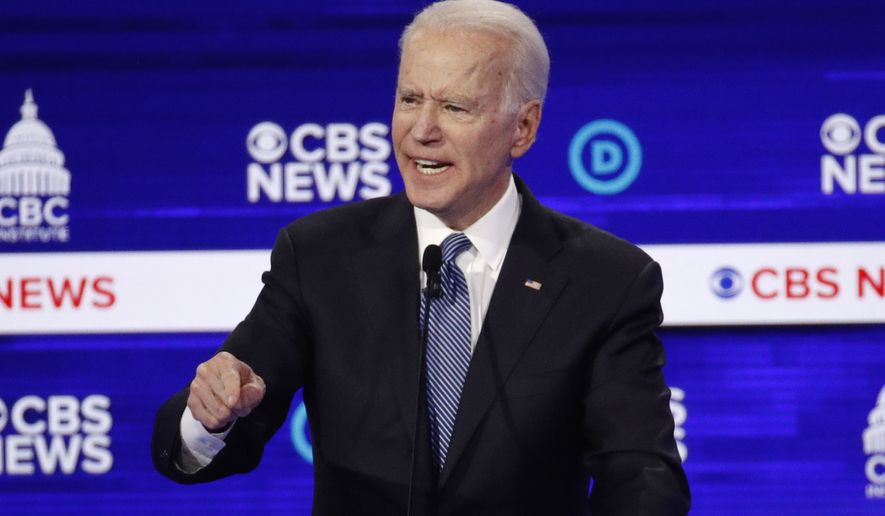 In this Feb. 25, 2020, file photo Democratic presidential candidate former Vice President Joe Biden, speaks during a Democratic presidential primary debate at the Gaillard Center in Charleston, S.C., co-hosted by CBS News and the Congressional Black Caucus Institute. (AP Photo/Patrick Semansky, File)