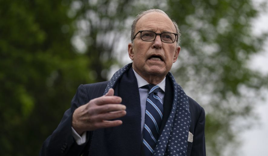 White House chief economic adviser Larry Kudlow talks to reporters about the coronavirus pandemic at the White House on Monday, April 20, 2020, in Washington. (AP Photo/Evan Vucci) ** FILE **