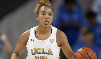 FILE - In this Nov. 5, 2019, file photo, UCLA guard Jaden Owens is shown during an NCAA basketball game against Weber State in Los Angeles. Former UCLA point guard Jaden Owens is transferring to Baylor. She signed a national letter of intent Monday, April 20, 2020, to play for the Lady Bears in her home state. I(AP Photo/Kyusung Gong, File)