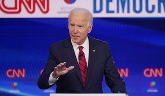 Vice President Joe Biden participates in a Democratic presidential primary debate at CNN Studios in Washington on Sunday, March 15, 2020. (AP Photo/Evan Vucci) **FILE**