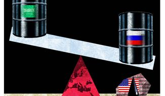 Illustration on Saudi action in protecting the U.S. shale oil industry by Alexander Hunter/The Washington Times