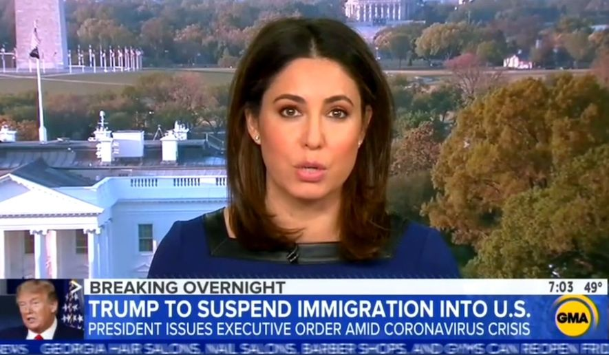 "ABC News' White House correspondent Cecilia Vega discusses the Trump administration's handling of the coronavirus pandemic, April 21, 2020. (Image: ABC, ""Good Morning America"" video screenshot)"