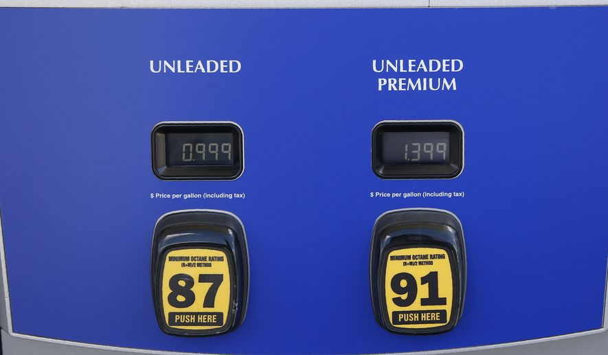 Gas prices are posted as .999 for regular and 1.37 for premium at a Sam's Club Tuesday, April 21, 2020, in Oklahoma City, as oil prices continue to drop, because very few people are flying or driving, and factories have shut amid widespread stay-at-home orders due to COVID-19. The new coronavirus causes mild or moderate symptoms for most people, but for some, especially older adults and people with existing health problems, it can cause more severe illness or death. (AP Photo/Sue Ogrocki)