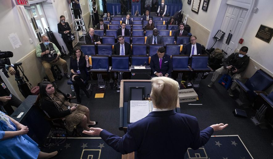 President Donald Trump speaks about the coronavirus in the James Brady Press Briefing Room of the White House, Tuesday, April 21, 2020, in Washington. (AP Photo/Alex Brandon)