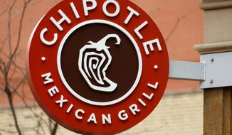 This Jan. 12, 2017, file photo shows the sign on a Chipotle restaurant in Pittsburgh. Federal prosecutors say Chipotle Mexican Grill has agreed to pay a record $25 million fine to resolve criminal charges that it served tainted food that sickened more than 1,100 people in the U.S. from 2015 to 2018. The fast food company was charged Tuesday, April 21, 2020 in Los Angeles federal court with two counts of violating the Food, Drug, and Cosmetic Act by serving adulterated food. The charges stem from outbreaks of norovirus, which causes diarrhea, at some Chipotle restaurants other than this location. (AP Photo/Gene J. Puskar, File)