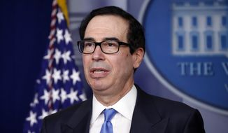 Treasury Secretary Steven Mnuchin speaks about the coronavirus in the James Brady Press Briefing Room of the White House, Tuesday, April 21, 2020, in Washington. (AP Photo/Alex Brandon) ** FILE **