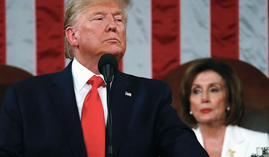President Trump and House Speaker Nancy Pelosi are shown in this file photo. (Associated Press)  **FILE**