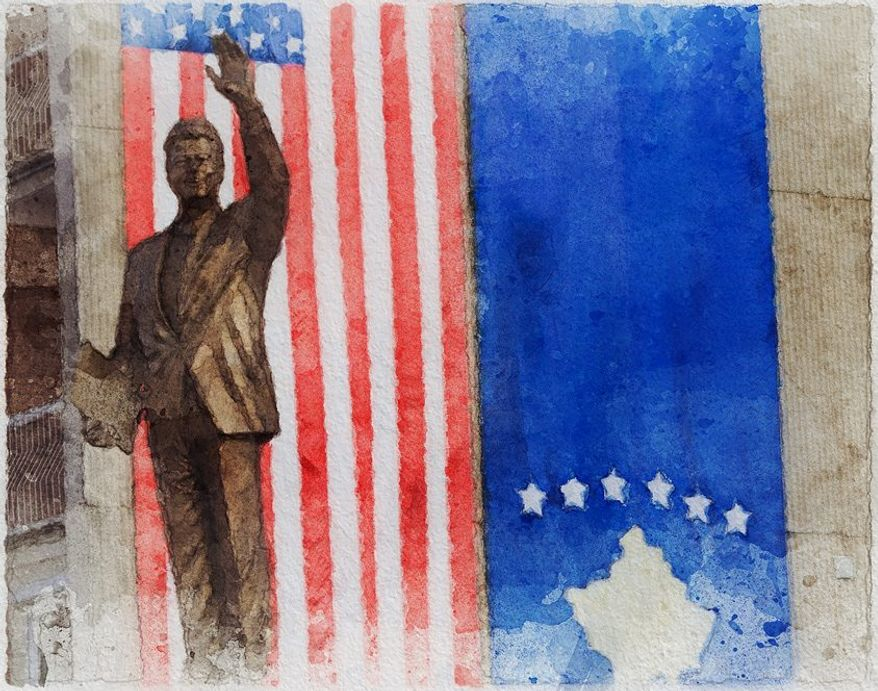 The Clinton Kosovo Statue Illustration by Greg Groesch/The Washington Times