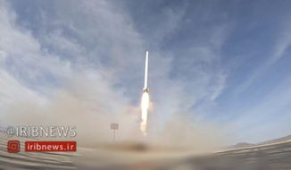 In this image taken from video, an Iranian rocket carrying a satellite is launched from an undisclosed site believed to be in Iran's Semnan province Wednesday, April 22, 2020. Iran's Revolutionary Guard said Wednesday it put the Islamic Republic's first military satellite into orbit, dramatically unveiling what experts described as a secret space program with a surprise launch that came amid wider tensions with the United States. (IRIB via AP)