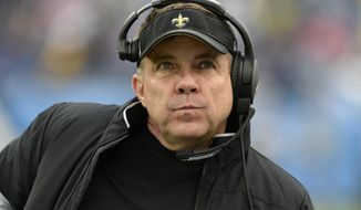FILE - In this Dec. 22, 2019, file photo, New Orleans Saints head coach Sean Payton watches from the sideline in the second half of an NFL football game against the Tennessee Titans in Nashville, Tenn. The 2020 NFL Draft is April 23-25. (AP Photo/Mark Zaleski, File)