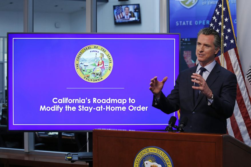 In this April 14, 2020, file photo, California Gov. Gavin Newsom gestures during a news conference at the Governor's Office of Emergency Services in Rancho Cordova, Calif. (AP Photo/Rich Pedroncelli, Pool, File)