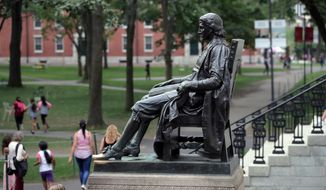 In this Aug. 13, 2019, file photo, students walk past the statue of John Harvard in Harvard Yard at Harvard University in Cambridge, Mass. (AP Photo/Charles Krupa, File)