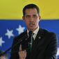 Opposition leader Juan Guaido speaks during a press conference in Caracas, Venezuela, Monday, March 9, 2020. (AP Photo/Matias Delacroix) ** FILE **