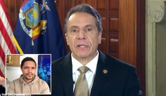 """New York Gov. Andrew Cuomo discusses the coronavirus pandemic on Comedy Central, April 23, 2020. (Image: Comedy Central, """"The Daily Show"""" video screenshot)"""