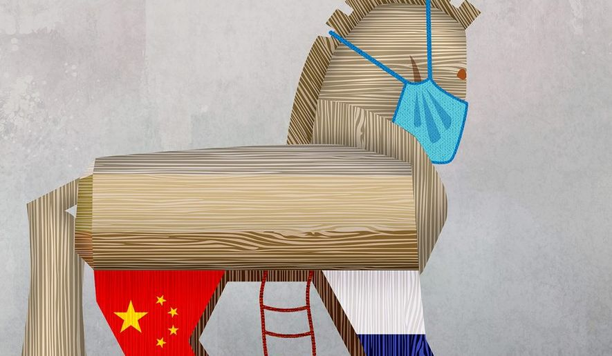Trojan Horse Aid Illustration by Greg Groesch/The Washington Times
