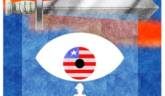 Illustration on the military surveillance state in America by Alexander Hunter/The Washington Times