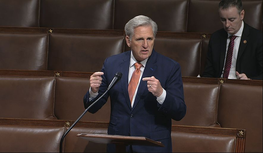 In this image from video, House Minority Leader Kevin McCarthy of Calif., speaks on the floor of the House of Representatives at the U.S. Capitol in Washington, Thursday, April 23, 2020. (House Television via AP) ** FILE **