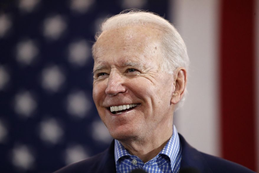 In this Feb. 22, 2020, file photo, Democratic presidential candidate former Vice President Joe Biden speaks during a caucus night event in Las Vegas.  (AP Photo/John Locher, File) ** FILE **