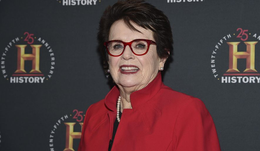 "FILE - In this Feb. 29, 2020, file photo, Billie Jean King attends A+E Network's ""HISTORYTalks: Leadership and Legacy"" at Carnegie Hall in New York. King saw Roger Federer's tweets suggesting that the men's and women's professional tennis tours unify. ""I went, 'This can happen! This can happen!'"" she said. ""The time's right."" (Photo by Evan Agostini/Invision/AP, File)"