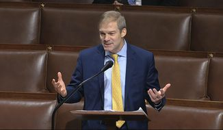 In this image from video, Rep. Jim Jordan, R-Ohio, speaks on the floor of the House of Representatives at the U.S. Capitol in Washington, Thursday, April 23, 2020. (House Television via AP) ** FILE **