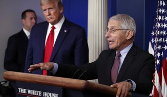 President Donald Trump listens as Dr. Anthony Fauci, director of the National Institute of Allergy and Infectious Diseases, speaks about the coronavirus in the James Brady Press Briefing Room of the White House, Wednesday, April 22, 2020, in Washington. (AP Photo/Alex Brandon)