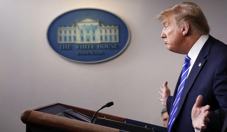 President Donald Trump speaks about the coronavirus in the James Brady Press Briefing Room of the White House, Thursday, April 23, 2020, in Washington. (AP Photo/Alex Brandon)