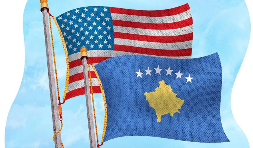 Flags over Kosovo Illustration by Greg Groesch/The Washington Times