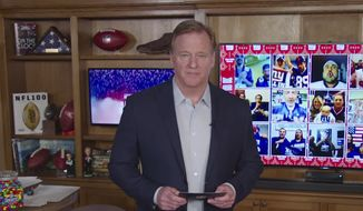 In this still image from video provided by the NFL, Roger Goodell speaks from his home in Bronxville, N.Y., during the NFL football draft Thursday, April 23, 2020. (NFL via AP)  **FILE**