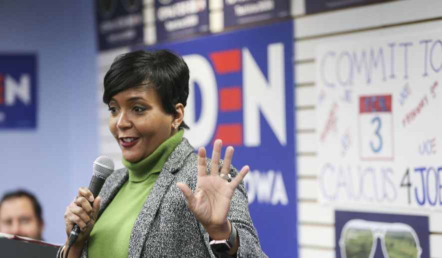 Atlanta Mayor Keisha Lance Bottoms speaks at a rally for Joe Biden at his campaign office in Cedar Rapids, Iowa on Friday, Jan. 10, 2020. The Iowa Caucus will be held on Monday, Feb. 3. (Rebecca F. Miller/The Gazette via AP) **FILE**