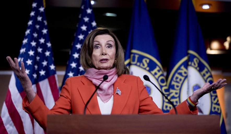 House Speaker Nancy Pelosi of Calif., speaks during a news conference on Capitol Hill, Friday, April 24, 2020, in Washington. (AP Photo/Andrew Harnik)