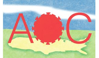 Illustration on the viral effect of AOC by Alexander Hunter/The Washington Times