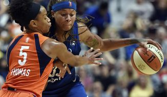 FILE - In this Aug. 17, 2018, file photo, Connecticut Sun guard Jasmine Thomas defends against Minnesota Lynx forward Seimone Augustus during the second half of a WNBA basketball game in Uncasville, Conn.  Augustus has left theLynx after 14 seasons to join the Los Angeles Sparks. The All-WNBA guard Augustus was a key piece of four championship teams in Minnesota, which drafted her with the first overall pick out of LSU in 2006. With Maya Moore on hiatus from the sport and Lindsay Whalen and Rebekkah Brunson retired, the Lynx are in rebuilding mode. (Sean D. Elliot/The Day via AP, File)