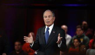 In this March 2, 2020, file photo, then-Democratic presidential candidate former New York City Mayor Mike Bloomberg speaks during a FOX News Channel Town Hall in Manassas, Va. (AP Photo/Carolyn Kaster, File)