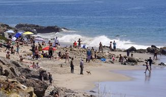 Several people utilize a beach, Friday, April 24, 2020, in Malibu, Calif. (AP Photo/Mark J. Terrill)