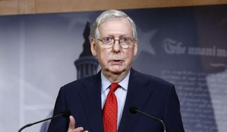 In this April 21, 2020, photo Senate Majority Leader Mitch McConnell of Ky., speaks with reporters after the Senate approved a nearly $500 billion coronavirus aid bill on Capitol Hill in Washington. On May 2, 2020, Mr. McConnell and House Speaker Nancy Pelosi, California Democrat, issued a rare joint statement in which they politely declined President Trump's offer to furnish Congress with rapid-testing kits it could use to quickly screen legislators for COVID-19. (AP Photo/Patrick Semansky) **FILE**